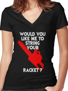 String Your Racket Tee Women's Fitted V-Neck T-Shirt