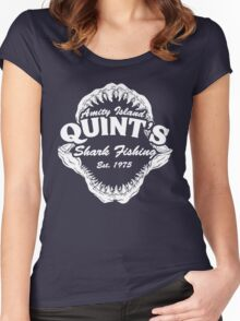 Quints Shark Fishing Amity Island - Jaws Funny 70s Movie Women's Fitted Scoop T-Shirt