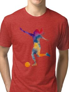 Woman soccer player 07 in watercolor Tri-blend T-Shirt