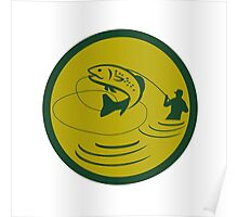 Trout Jumping Fly Fisherman Circle Retro Poster