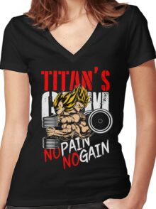 NO PAIN NO GAIN - Goku & Vegeta's GYM Women's Fitted V-Neck T-Shirt