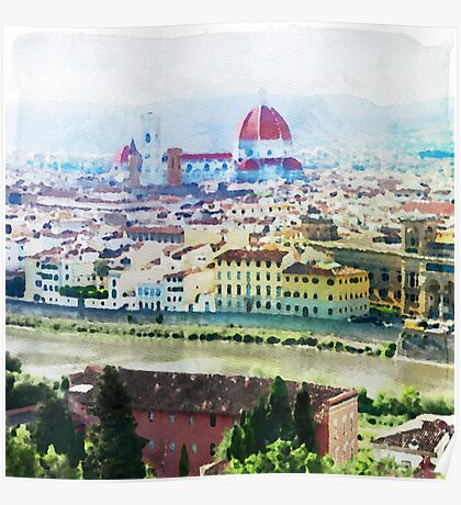 Watercolor painting of Florence Italy Poster
