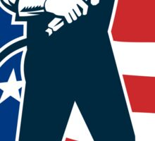 Welder Standing Visor Up USA Flag Circle Retro Sticker