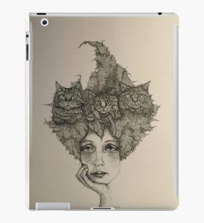 Girl With Three Cats iPad Case/Skin