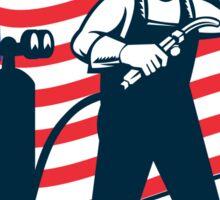 Welder Standing Visor Up USA Flag Wavy Retro Sticker