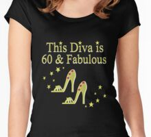 GLITTERY GOLD 60 AND FABULOUS Women's Fitted Scoop T-Shirt