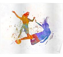 Women soccer players 02 in watercolor Poster