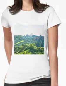 Tuscany idyllic landscape - watercolor painting Womens Fitted T-Shirt