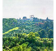 Tuscany idyllic landscape - watercolor painting Photographic Print