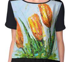 Yellow Tulips Chiffon Top