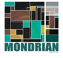 Mondrian Teal Brown Black  Photographic Print