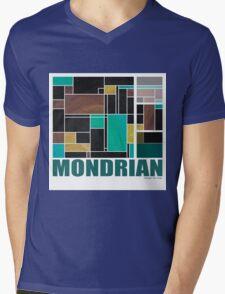 Mondrian Teal Brown Black  Mens V-Neck T-Shirt