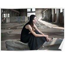 Asian woman in black skirt in abandoned place  Poster
