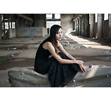 Asian woman in black skirt in abandoned place  Photographic Print