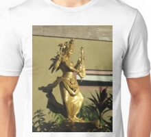 Golden Saraswati Statue Gleaming in Balinese Morning Sunlight Unisex T-Shirt