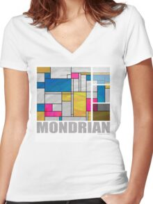 Mondrian Yellow Pink Blue  Women's Fitted V-Neck T-Shirt