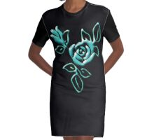 Blue Roses Graphic T-Shirt Dress