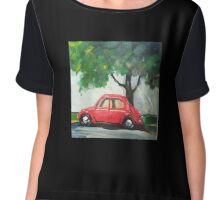 Little Red Car - Original Oil Painting Chiffon Top