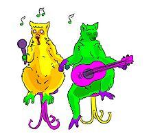 Lemurs singing in karaoke bar Photographic Print