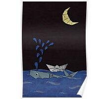 whale & moon Poster