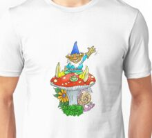Waving sitting gnome. Unisex T-Shirt