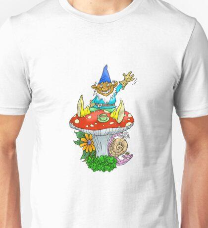 Waving sitting gnome. Unisex T-Shirt