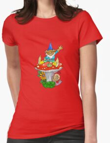 Waving sitting gnome. Womens Fitted T-Shirt