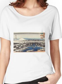 Nihonbashi Clearing After Snow - Hiroshige Ando - c1840 - woodcut Women's Relaxed Fit T-Shirt