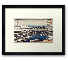 Nihonbashi Clearing After Snow - Hiroshige Ando - c1840 - woodcut Framed Print