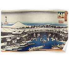 Nihonbashi Clearing After Snow - Hiroshige Ando - c1840 - woodcut Poster