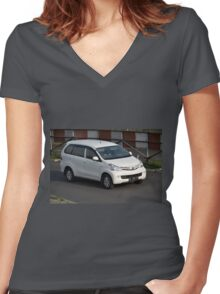 white colored toyota avanza Women's Fitted V-Neck T-Shirt
