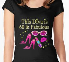 PRETTY PINK 60TH BIRTHDAY DIVA DESIGN Women's Fitted Scoop T-Shirt