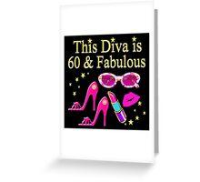 PRETTY PINK 60TH BIRTHDAY DIVA DESIGN Greeting Card