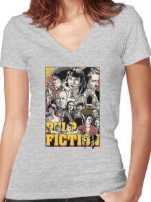 -TARANTINO- Pulp Fiction Poster Style Women's Fitted V-Neck T-Shirt