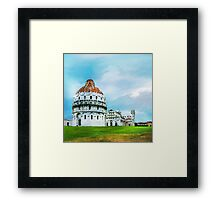 Watercolor painting of Pisa, Italy Framed Print