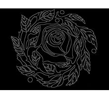 Rose Outline White Photographic Print