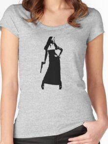 Gun totting nun! Women's Fitted Scoop T-Shirt