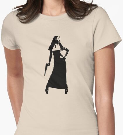 Gun totting nun! Womens Fitted T-Shirt