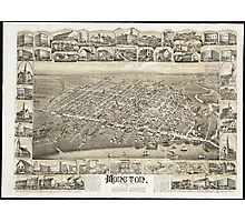 Vintage Pictorial Map of Moncton NB (1888) Photographic Print
