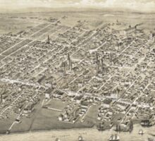 Vintage Pictorial Map of Moncton NB (1888) Sticker