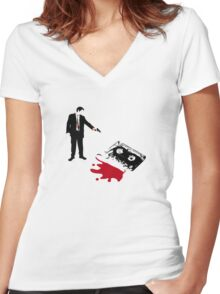 Save the Mix Tape! Women's Fitted V-Neck T-Shirt