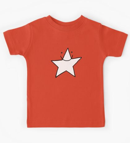Lucky white funny star smiling with eyes open Kids Tee