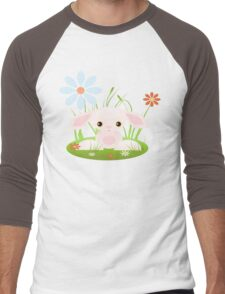 Little Pink Baby Bunny With Flowers Men's Baseball ¾ T-Shirt