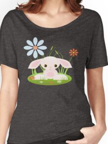 Little Pink Baby Bunny With Flowers Women's Relaxed Fit T-Shirt