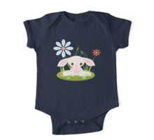 Little Pink Baby Bunny With Flowers One Piece - Short Sleeve