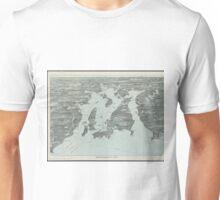 Vintage Pictorial Map of Narragansett Bay (1907) Unisex T-Shirt