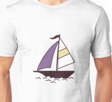 Pattern with color boats. Sailfish background. Cheerful ornament with sailboats Unisex T-Shirt