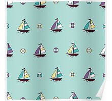 Pattern with color boats. Sailfish background. Cheerful ornament with sailboats Poster