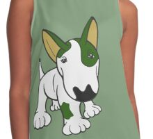 Bull Terrier Eye Patch Pup White & Greens Contrast Tank