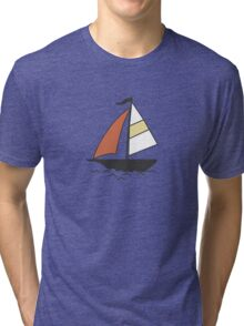Pattern with color boats. Sailfish background. Cheerful ornament with sailboats Tri-blend T-Shirt